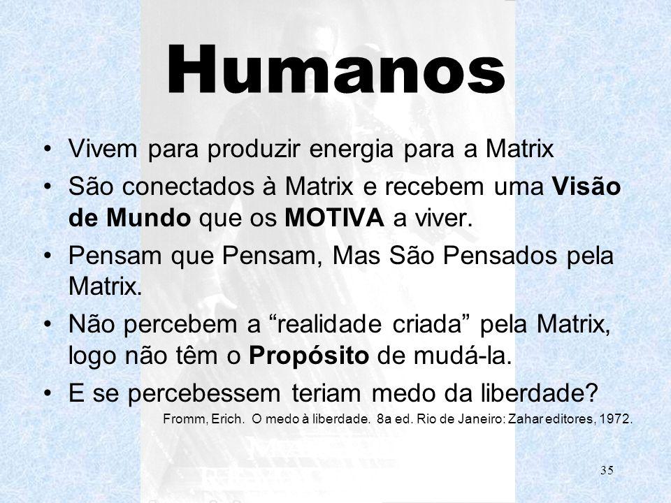 Prof. d´Avila35 Humanos Vivem para produzir energia para a Matrix São conectados à Matrix e recebem uma Visão de Mundo que os MOTIVA a viver. Pensam q