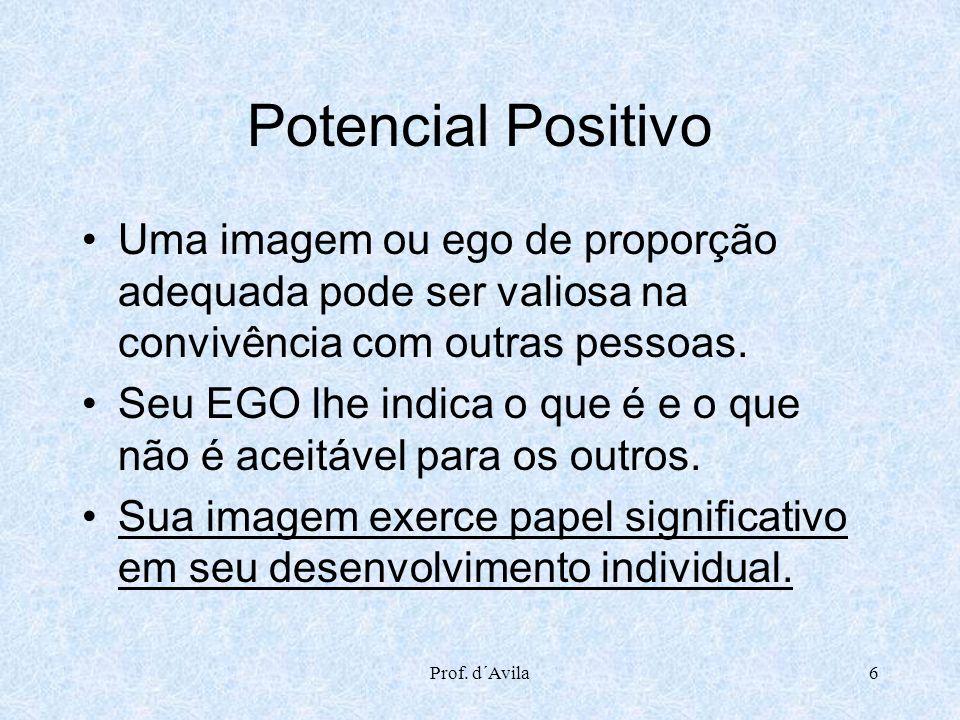 Prof. d´Avila6 Potencial Positivo Uma imagem ou ego de proporção adequada pode ser valiosa na convivência com outras pessoas. Seu EGO lhe indica o que