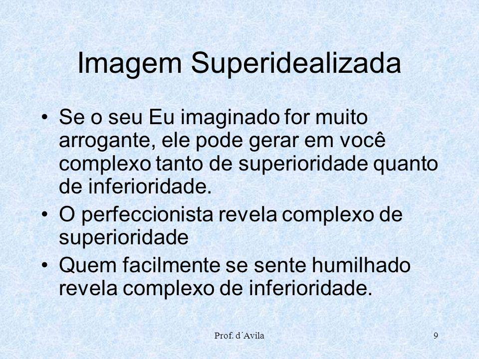 Prof. d´Avila9 Imagem Superidealizada Se o seu Eu imaginado for muito arrogante, ele pode gerar em você complexo tanto de superioridade quanto de infe