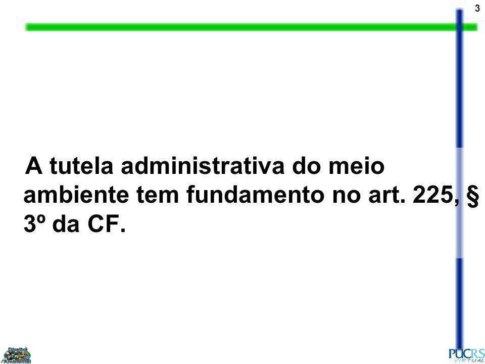 3 A tutela administrativa do meio ambiente tem fundamento no art. 225, § 3º da CF.