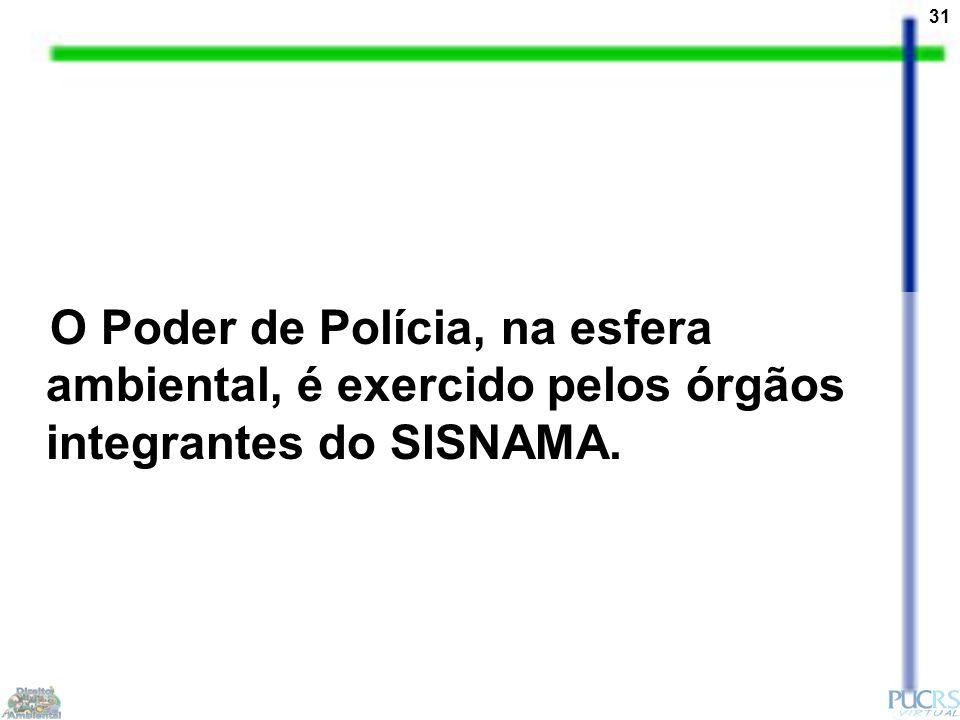 31 O Poder de Polícia, na esfera ambiental, é exercido pelos órgãos integrantes do SISNAMA.