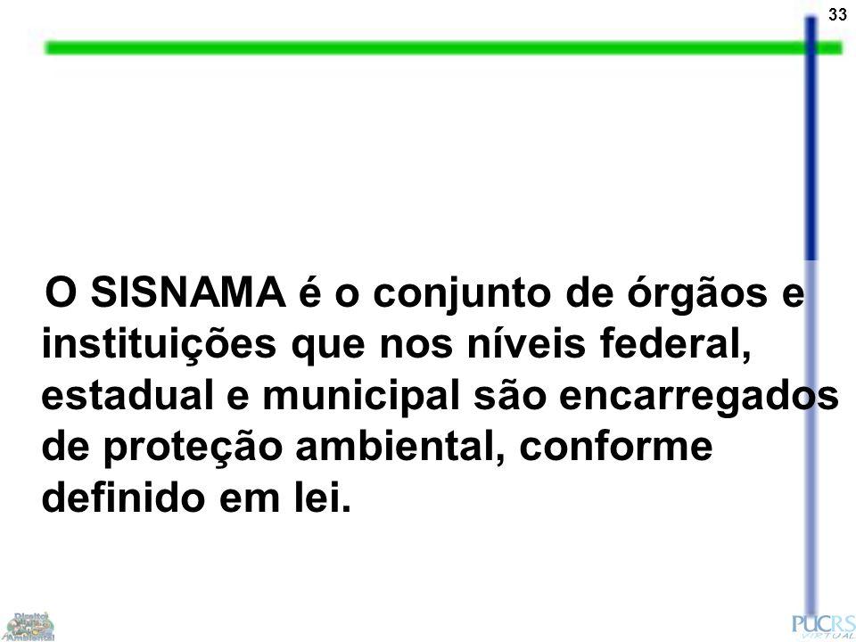 33 O SISNAMA é o conjunto de órgãos e instituições que nos níveis federal, estadual e municipal são encarregados de proteção ambiental, conforme definido em lei.