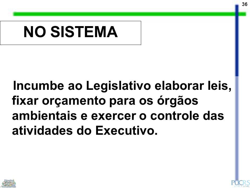 36 NO SISTEMA Incumbe ao Legislativo elaborar leis, fixar orçamento para os órgãos ambientais e exercer o controle das atividades do Executivo.