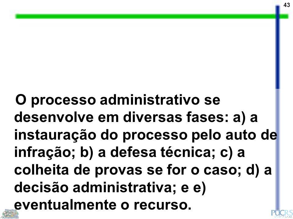 43 O processo administrativo se desenvolve em diversas fases: a) a instauração do processo pelo auto de infração; b) a defesa técnica; c) a colheita de provas se for o caso; d) a decisão administrativa; e e) eventualmente o recurso.