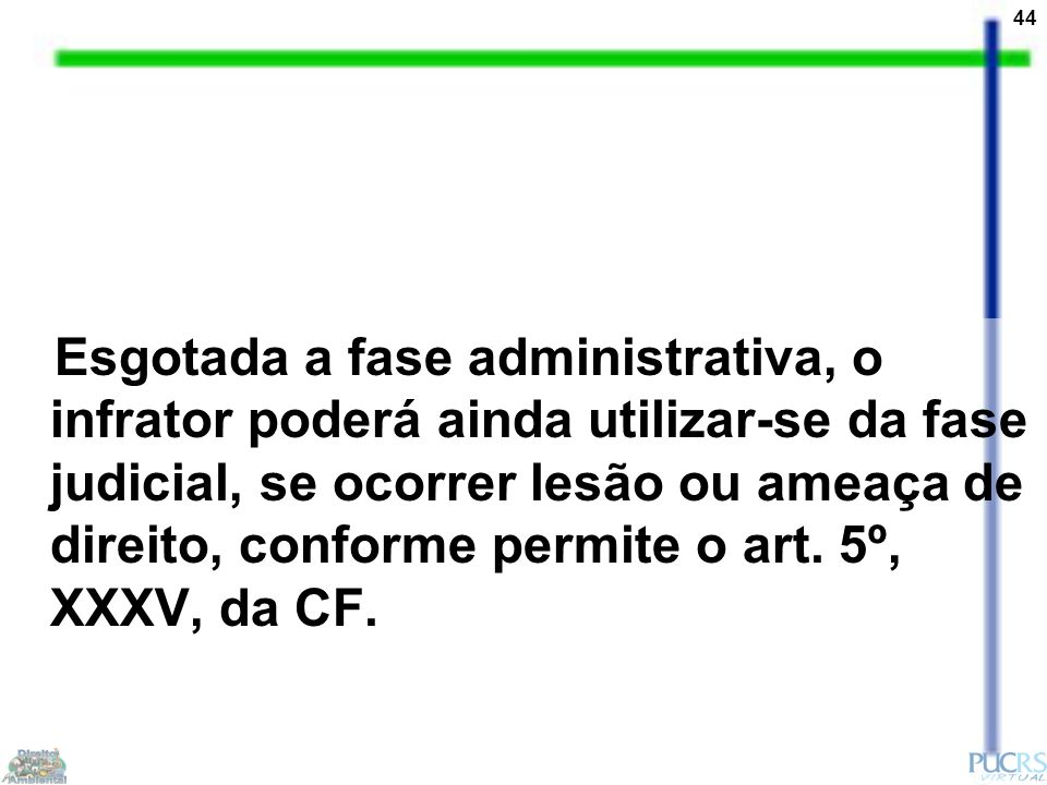 44 Esgotada a fase administrativa, o infrator poderá ainda utilizar-se da fase judicial, se ocorrer lesão ou ameaça de direito, conforme permite o art