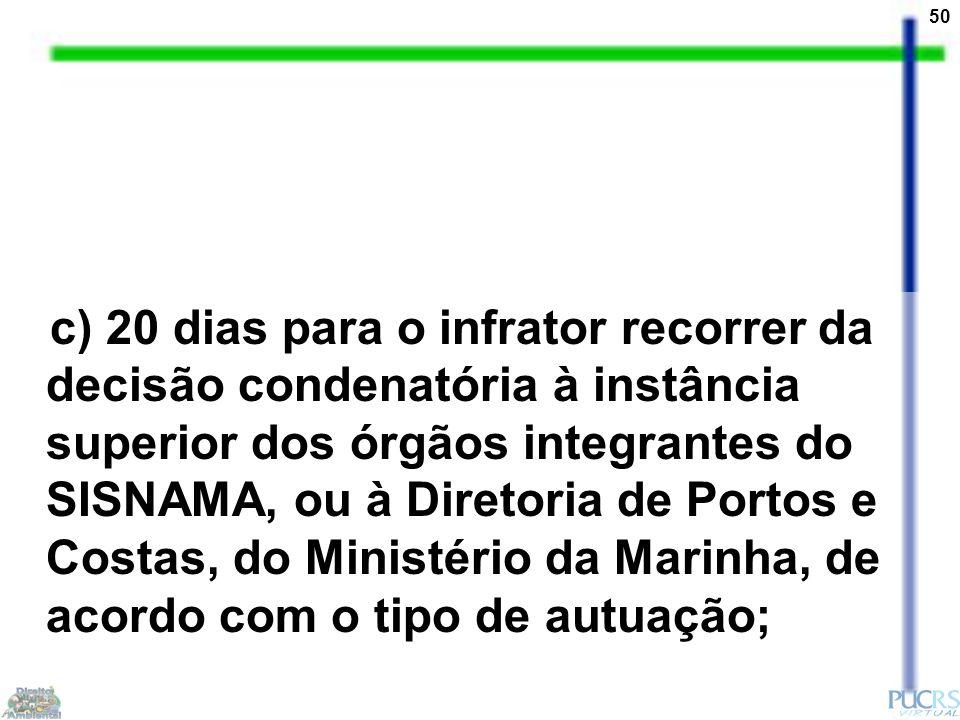 50 c) 20 dias para o infrator recorrer da decisão condenatória à instância superior dos órgãos integrantes do SISNAMA, ou à Diretoria de Portos e Cost