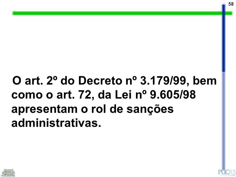 58 O art. 2º do Decreto nº 3.179/99, bem como o art. 72, da Lei nº 9.605/98 apresentam o rol de sanções administrativas.