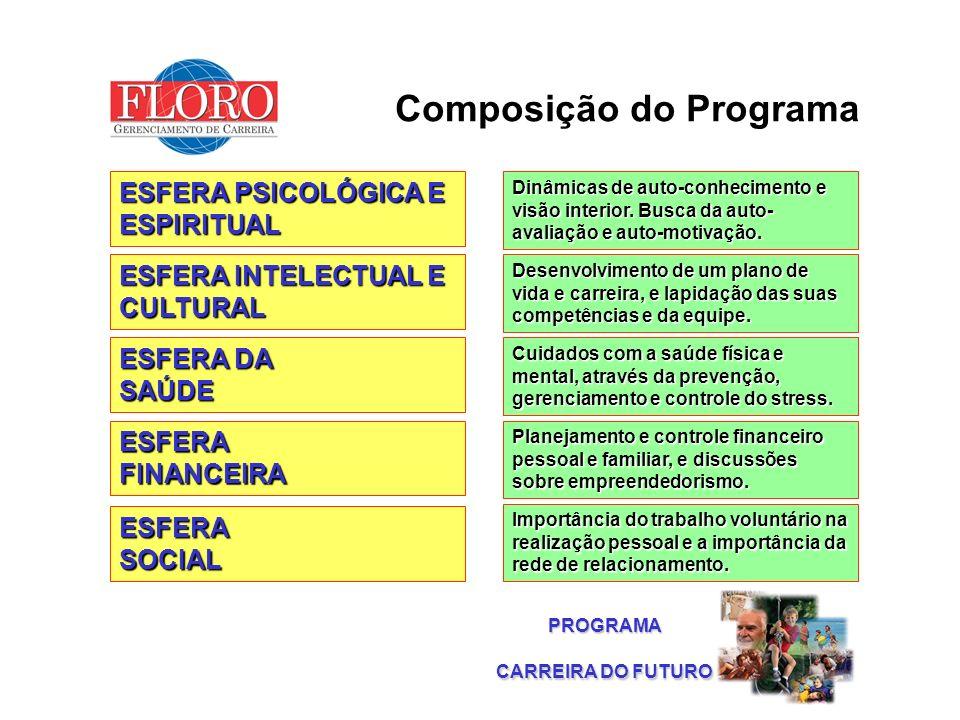 PROGRAMA Composição do Programa ESFERA DA SAÚDE ESFERA PSICOLÓGICA E ESPIRITUAL ESFERA INTELECTUAL E CULTURAL ESFERASOCIAL ESFERAFINANCEIRA Dinâmicas