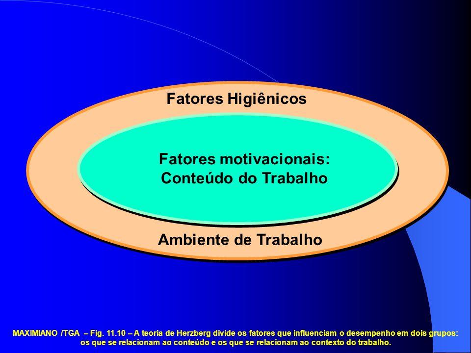 Ambiente de Trabalho Fatores Higiênicos Fatores motivacionais: Conteúdo do Trabalho MAXIMIANO /TGA – Fig.