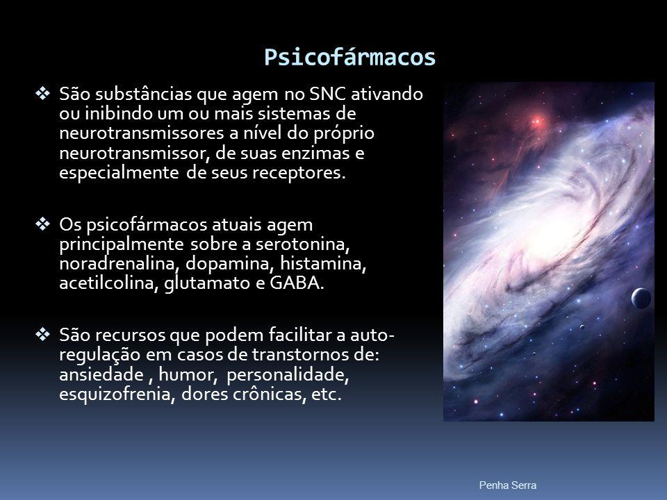 Psicofármacos São substâncias que agem no SNC ativando ou inibindo um ou mais sistemas de neurotransmissores a nível do próprio neurotransmissor, de s