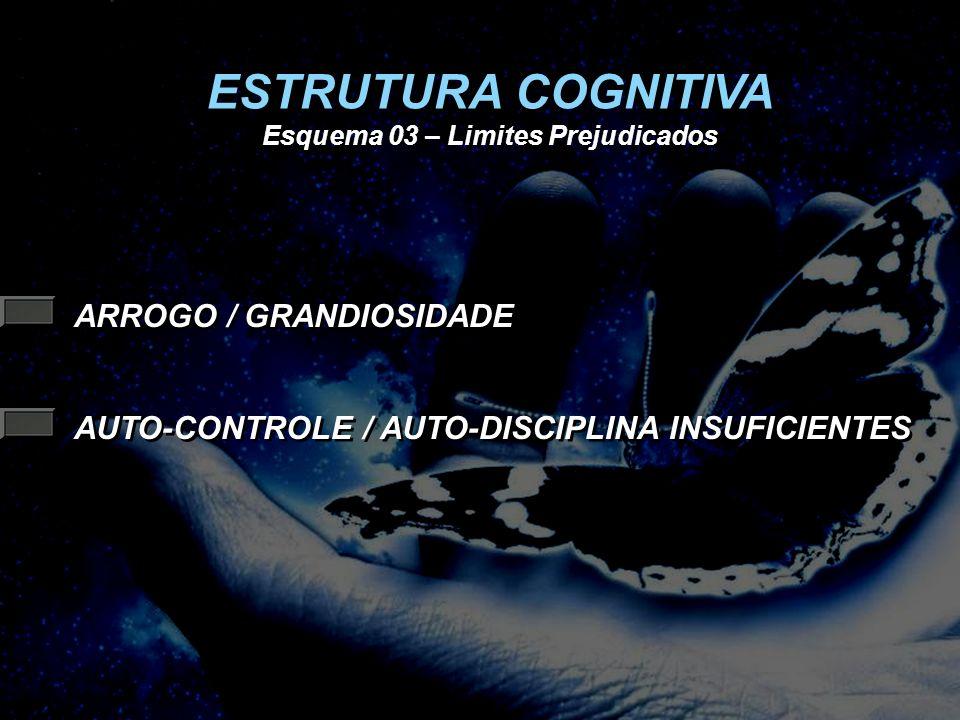 ARROGO / GRANDIOSIDADE AUTO-CONTROLE / AUTO-DISCIPLINA INSUFICIENTES ESTRUTURA COGNITIVA Esquema 03 – Limites Prejudicados