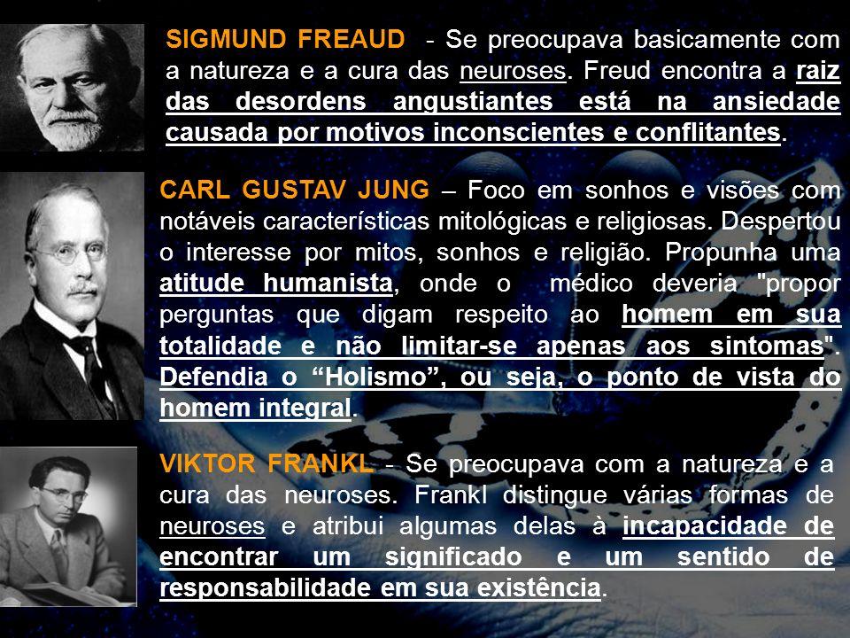 SIGMUND FREAUD - Se preocupava basicamente com a natureza e a cura das neuroses. Freud encontra a raiz das desordens angustiantes está na ansiedade ca