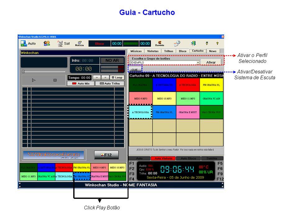 Guia - Cartucho Ativar o Perfil Selecionado Ativar/Desativar Sistema de Escuta Click Play Botão