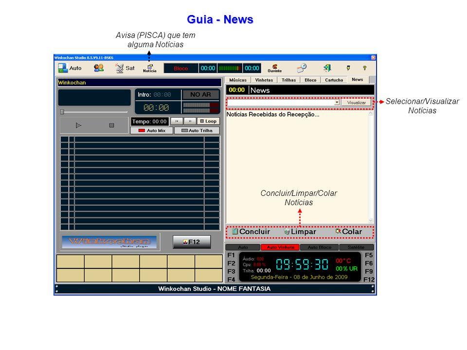 Guia - News Selecionar/Visualizar Notícias Concluir/Limpar/Colar Notícias Avisa (PISCA) que tem alguma Notícias