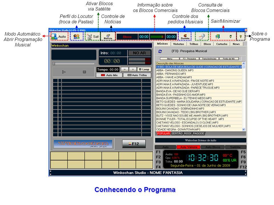 Modo Automático Abrir Programação Musical Perfil do Locutor (troca de Pastas) Ativar Blocos via Satélite Controle de Notícias Informação sobre os Blocos Comerciais Controle dos pedidos Musicais Consulta de Blocos Comerciais Sair/Minimizar Sobre o Programa Conhecendo o Programa
