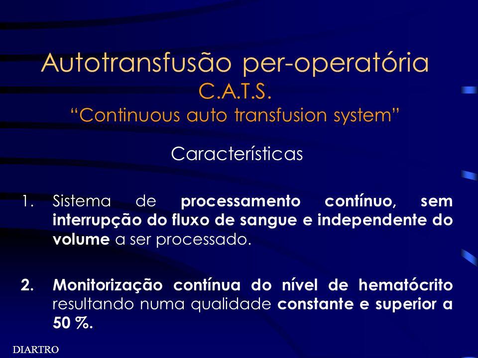 DIARTRO Autotransfusão per-operatória C.A.T.S. Continuous auto transfusion system Características 1.Sistema de processamento contínuo, sem interrupção