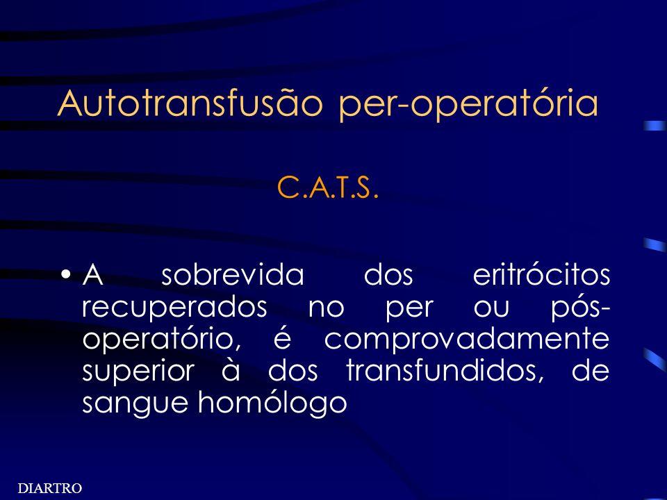 DIARTRO Autotransfusão per-operatória C.A.T.S. A sobrevida dos eritrócitos recuperados no per ou pós- operatório, é comprovadamente superior à dos tra