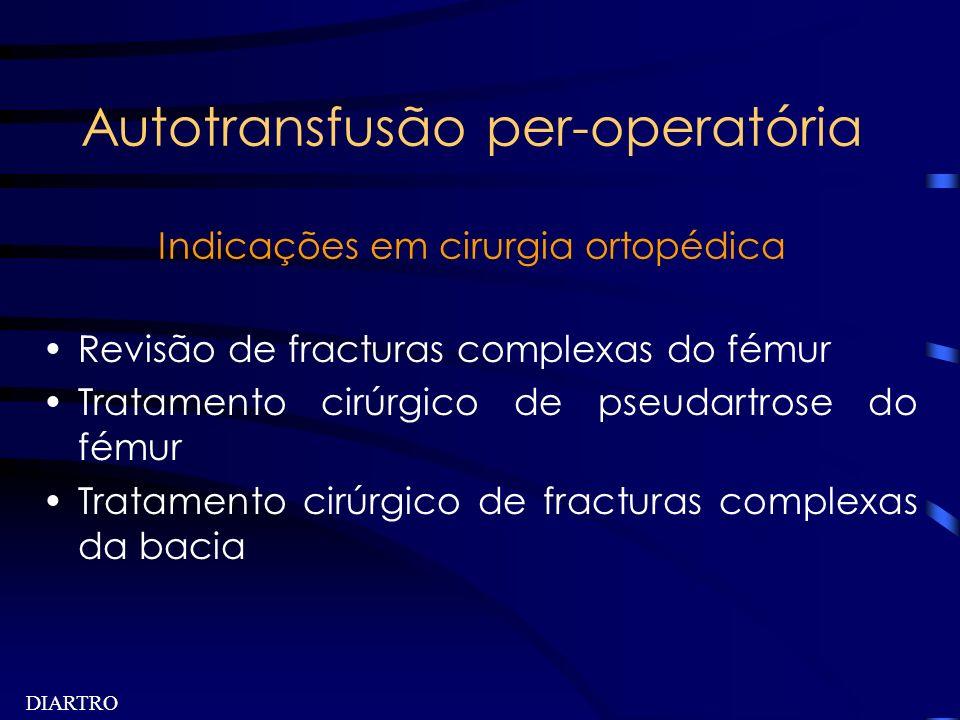 DIARTRO Autotransfusão per-operatória Indicações em cirurgia ortopédica Revisão de fracturas complexas do fémur Tratamento cirúrgico de pseudartrose d