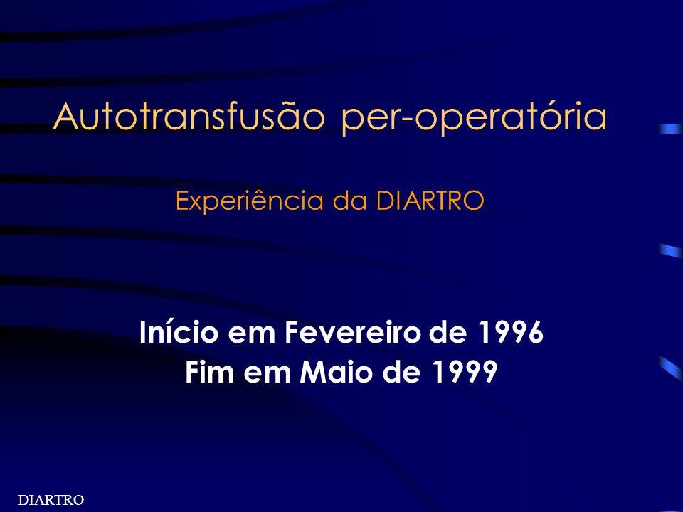 DIARTRO Autotransfusão per-operatória Experiência da DIARTRO Início em Fevereiro de 1996 Fim em Maio de 1999