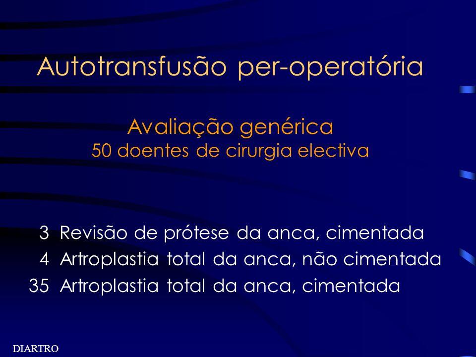 DIARTRO Autotransfusão per-operatória Avaliação genérica 50 doentes de cirurgia electiva 3 Revisão de prótese da anca, cimentada 4 Artroplastia total