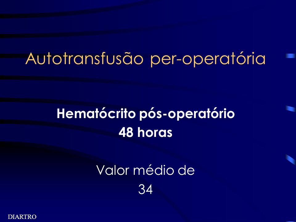 DIARTRO Autotransfusão per-operatória Hematócrito pós-operatório 48 horas Valor médio de 34