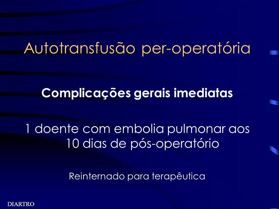 DIARTRO Autotransfusão per-operatória Complicações gerais imediatas 1 doente com embolia pulmonar aos 10 dias de pós-operatório Reinternado para terap