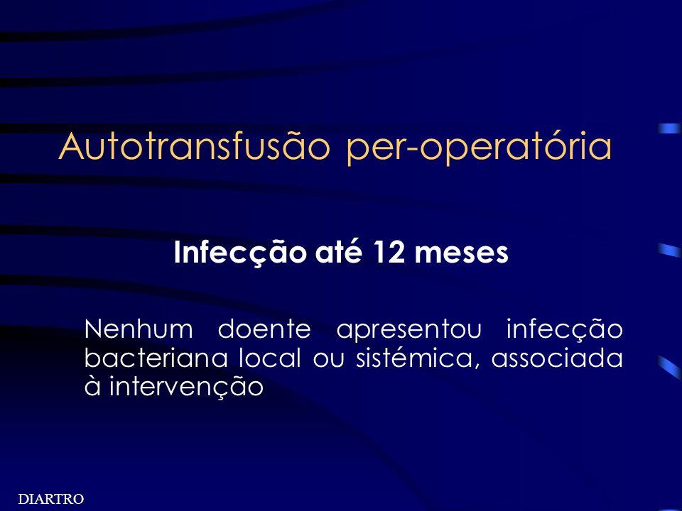 DIARTRO Autotransfusão per-operatória Infecção até 12 meses Nenhum doente apresentou infecção bacteriana local ou sistémica, associada à intervenção