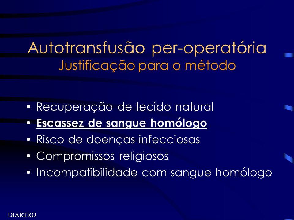 DIARTRO Autotransfusão per-operatória Justificação para o método Recuperação de tecido natural Escassez de sangue homólogo Risco de doenças infecciosa