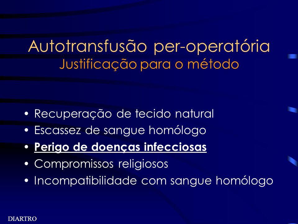 DIARTRO Autotransfusão per-operatória Justificação para o método Recuperação de tecido natural Escassez de sangue homólogo Perigo de doenças infeccios