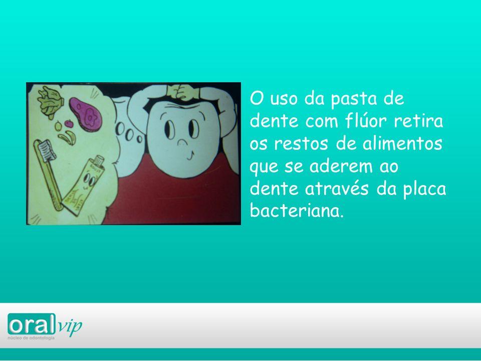 O uso da pasta de dente com flúor retira os restos de alimentos que se aderem ao dente através da placa bacteriana.