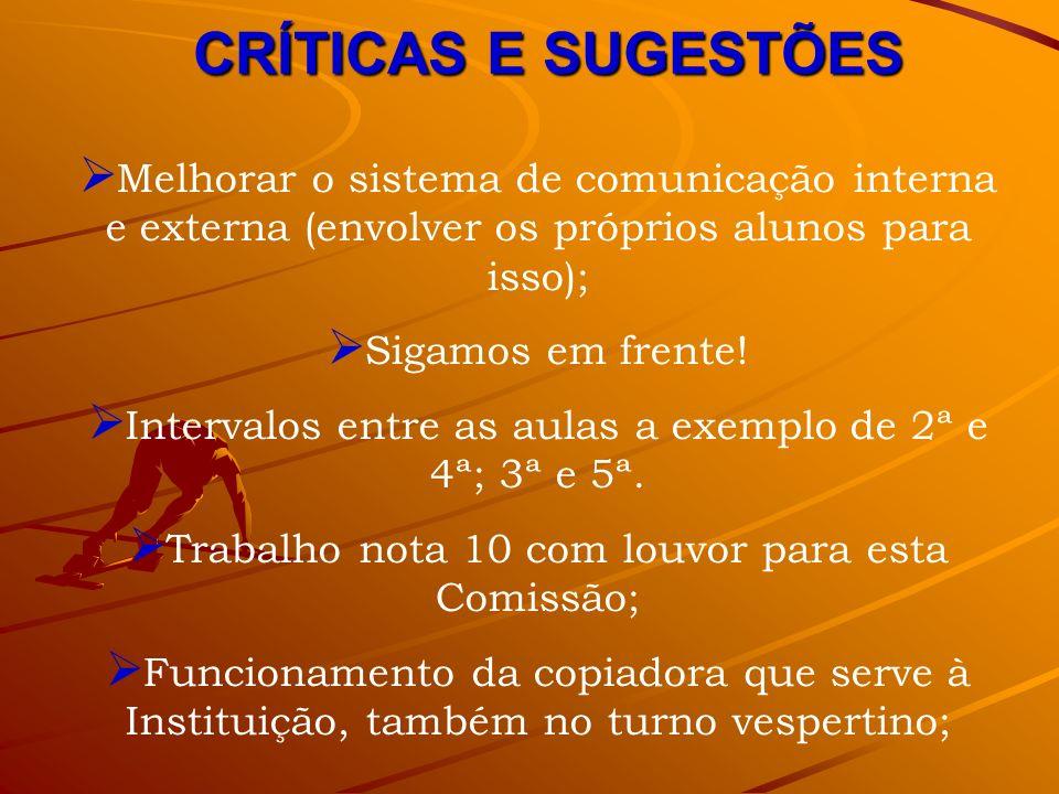 CRÍTICAS E SUGESTÕES Melhorar o sistema de comunicação interna e externa (envolver os próprios alunos para isso); Sigamos em frente! Intervalos entre