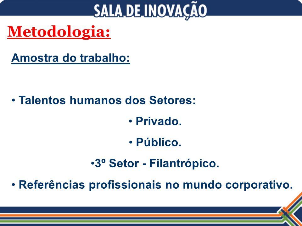 Metodologia: Amostra do trabalho: Talentos humanos dos Setores: Privado. Público. 3º Setor - Filantrópico. Referências profissionais no mundo corporat
