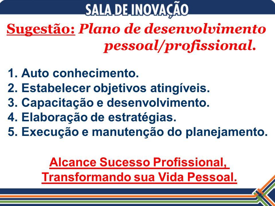 Sugestão: Plano de desenvolvimento pessoal/profissional. 1.Auto conhecimento. 2.Estabelecer objetivos atingíveis. 3.Capacitação e desenvolvimento. 4.E
