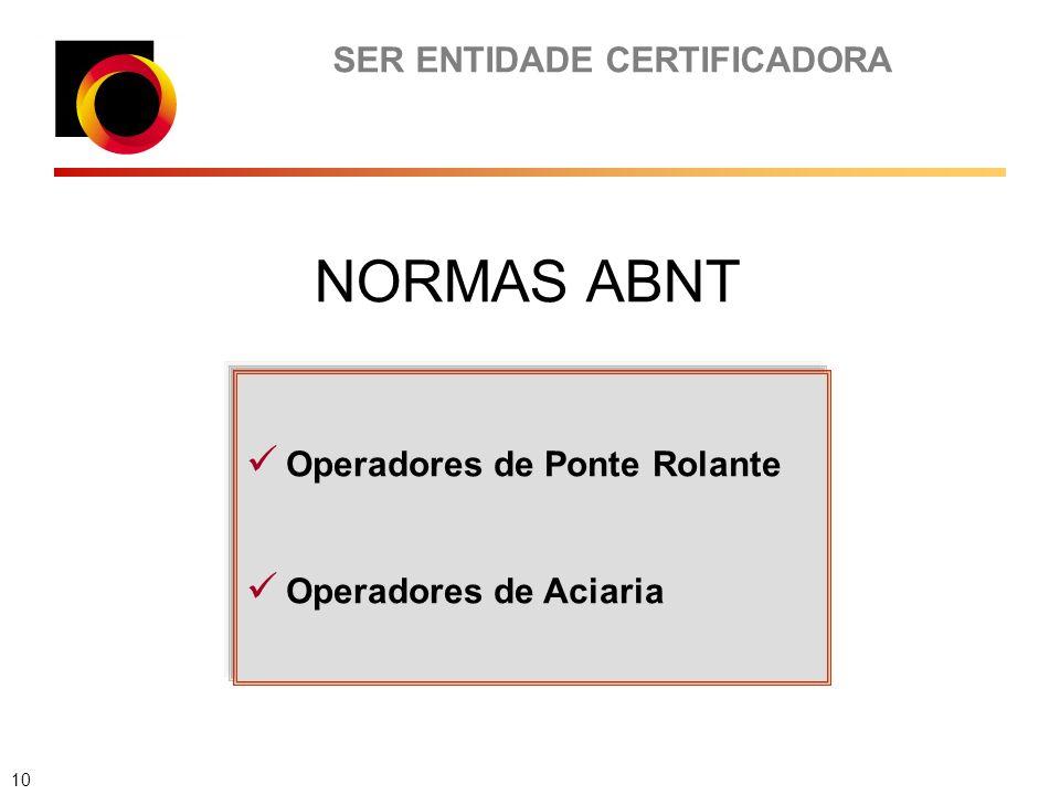 SER ENTIDADE CERTIFICADORA Operadores de Ponte Rolante Operadores de Aciaria NORMAS ABNT 10