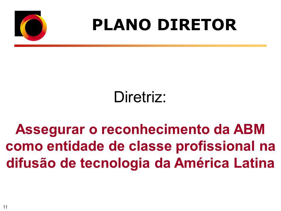 PLANO DIRETOR Assegurar o reconhecimento da ABM como entidade de classe profissional na difusão de tecnologia da América Latina Diretriz: 11