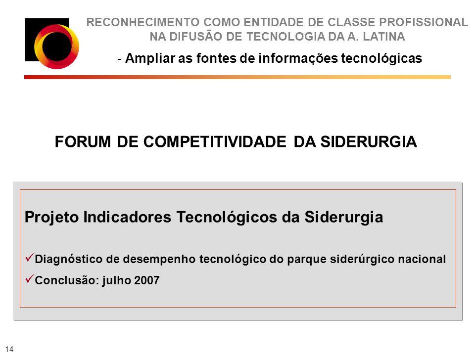 RECONHECIMENTO COMO ENTIDADE DE CLASSE PROFISSIONAL NA DIFUSÃO DE TECNOLOGIA DA A. LATINA - Ampliar as fontes de informações tecnológicas FORUM DE COM