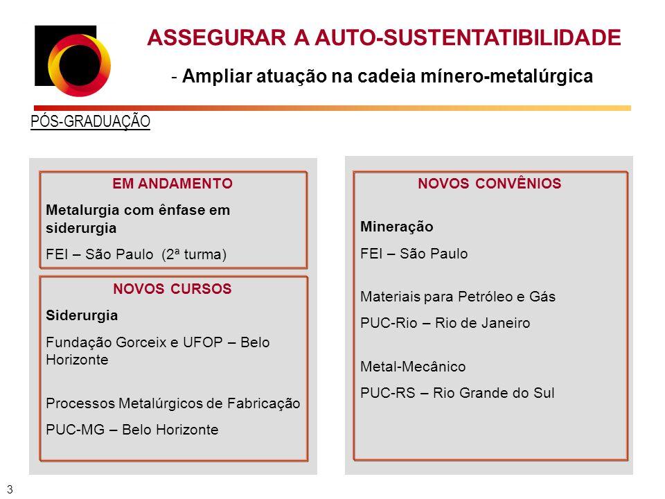 ASSEGURAR A AUTO-SUSTENTATIBILIDADE - Ampliar atuação na cadeia mínero-metalúrgica PÓS-GRADUAÇÃO EM ANDAMENTO Metalurgia com ênfase em siderurgia FEI – São Paulo (2ª turma) NOVOS CURSOS Siderurgia Fundação Gorceix e UFOP – Belo Horizonte Processos Metalúrgicos de Fabricação PUC-MG – Belo Horizonte NOVOS CONVÊNIOS Mineração FEI – São Paulo Materiais para Petróleo e Gás PUC-Rio – Rio de Janeiro Metal-Mecânico PUC-RS – Rio Grande do Sul 3