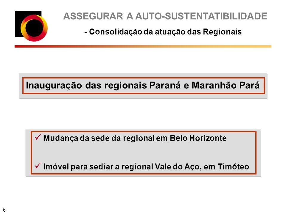 ASSEGURAR A AUTO-SUSTENTATIBILIDADE - Consolidação da atuação das Regionais Inauguração das regionais Paraná e Maranhão Pará Mudança da sede da regional em Belo Horizonte Imóvel para sediar a regional Vale do Aço, em Timóteo 6