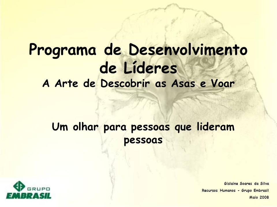 Programa de Desenvolvimento de Líderes A Arte de Descobrir as Asas e Voar Um olhar para pessoas que lideram pessoas Gislaine Soares da Silva Recursos