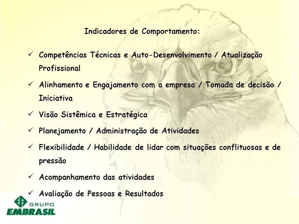 Competências Técnicas e Auto-Desenvolvimento / Atualização Profissional Alinhamento e Engajamento com a empresa / Tomada de decisão / Iniciativa Visão