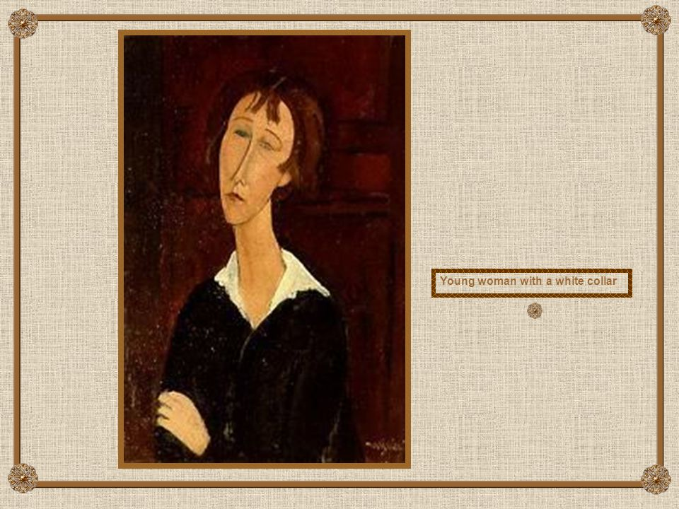 Young woman with a white collar