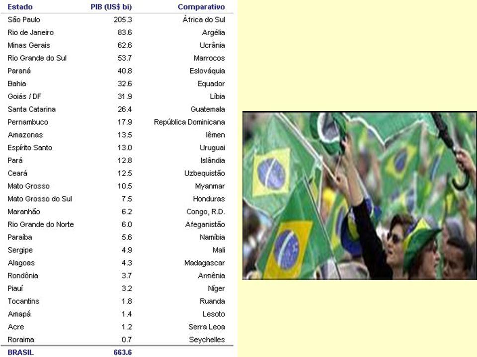 O Tamanho do PIB do Brasil O Tamanho do PIB do Brasil (14/06/07) os últimos dados do IBGE são de 2004.