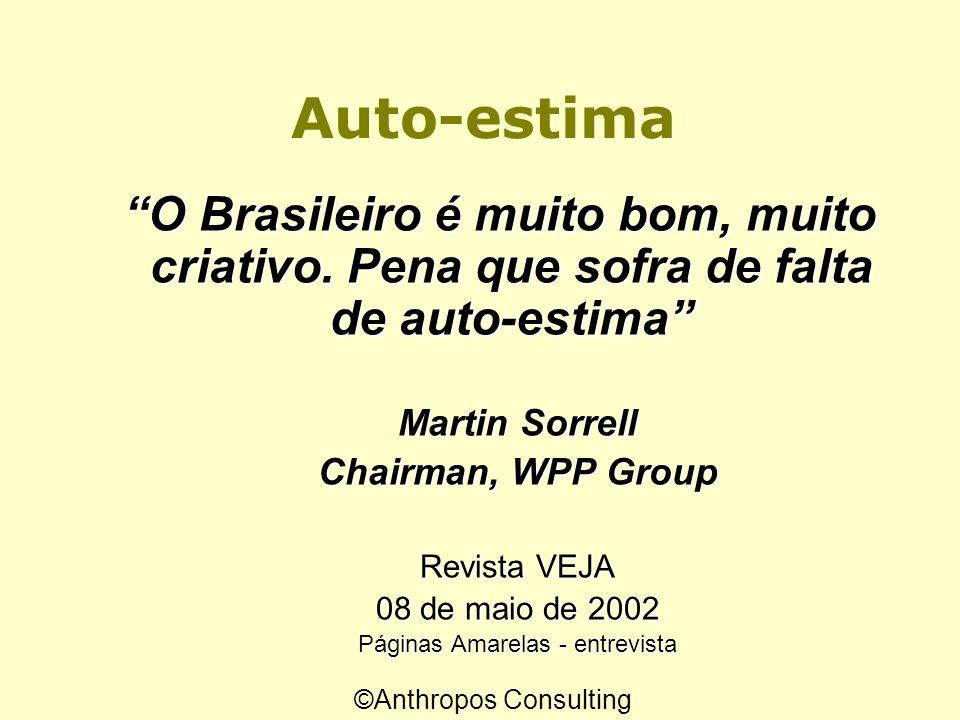 E o Brasil? O maior problema do Brasil é a baixa auto-estima do brasileiro O maior problema do Brasil é a baixa auto-estima do brasileiro Prof. James