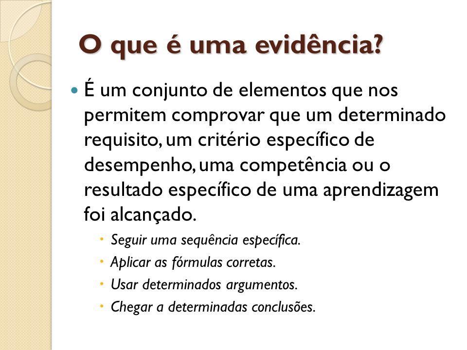 O que é uma evidência? É um conjunto de elementos que nos permitem comprovar que um determinado requisito, um critério específico de desempenho, uma c