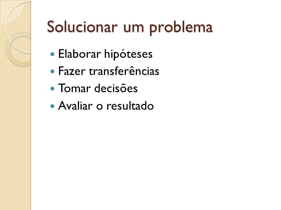 Solucionar um problema Elaborar hipóteses Fazer transferências Tomar decisões Avaliar o resultado