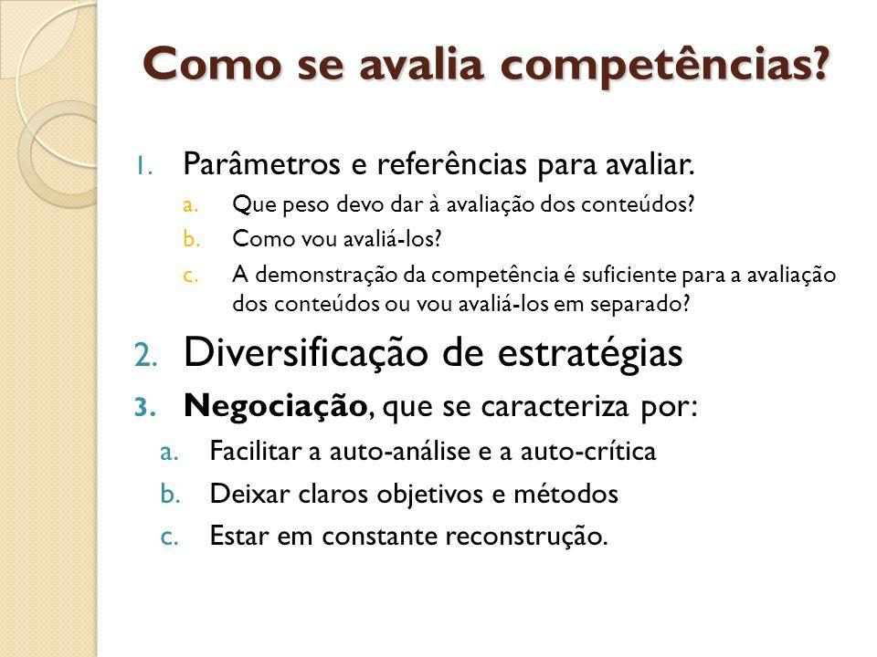 Como se avalia competências? 1. Parâmetros e referências para avaliar. a.Que peso devo dar à avaliação dos conteúdos? b.Como vou avaliá-los? c.A demon