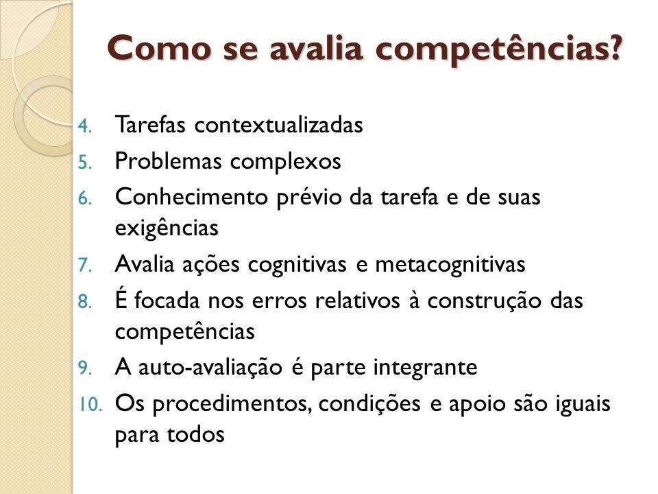 4. Tarefas contextualizadas 5. Problemas complexos 6. Conhecimento prévio da tarefa e de suas exigências 7. Avalia ações cognitivas e metacognitivas 8