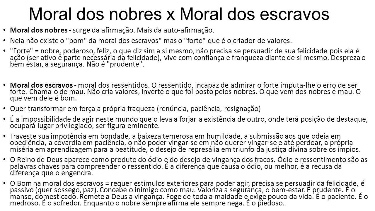 Moral dos nobres x Moral dos escravos Moral dos nobres - surge da afirmação. Mais da auto-afirmação. Nela não existe o