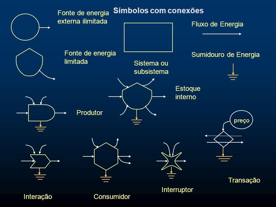 Fluxo de Energia Produtor Fonte de energia externa ilimitada Estoque interno Transação preço Sumidouro de Energia Fonte de energia limitada Consumidor
