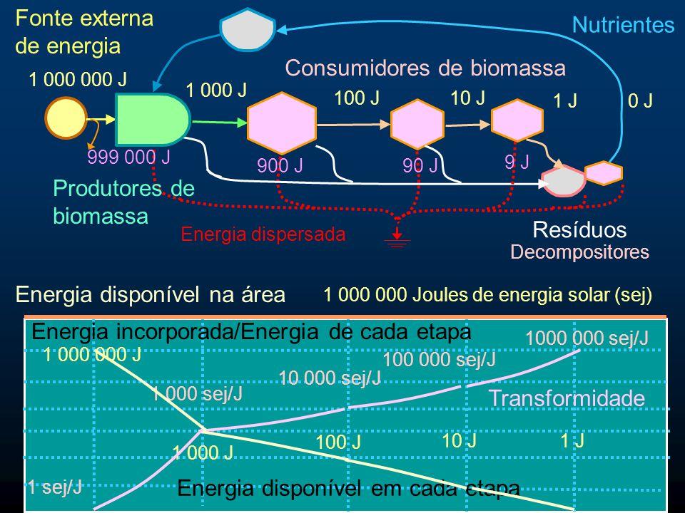 Maximizar a potência Os sistemas tendem a maximizar o fluxo de emergia.